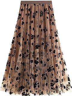 ZJMIYJ Kjolar för kvinnor - Nät veckade kjolar blommig flockad midi lång tyllkjol dam hög midja 3 lager höst damkläder för...
