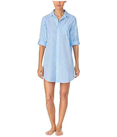 LAUREN Ralph Lauren Classic Wovens 3/4 Roll Sleeve His Sleepshirt (Blue Check) Women