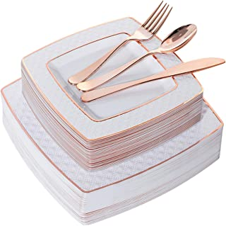 125pcs Rose Gold Square Plates with Rose Gold Silverware, Diamond Disposable plates,Includes: 25 Dinner Plates 9.5