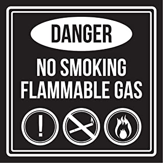 iCandy Products Inc Danger No Smoking Flammable Gas Black and White Business Commercial Safety Warning Square Sign - 9x9, Plastic