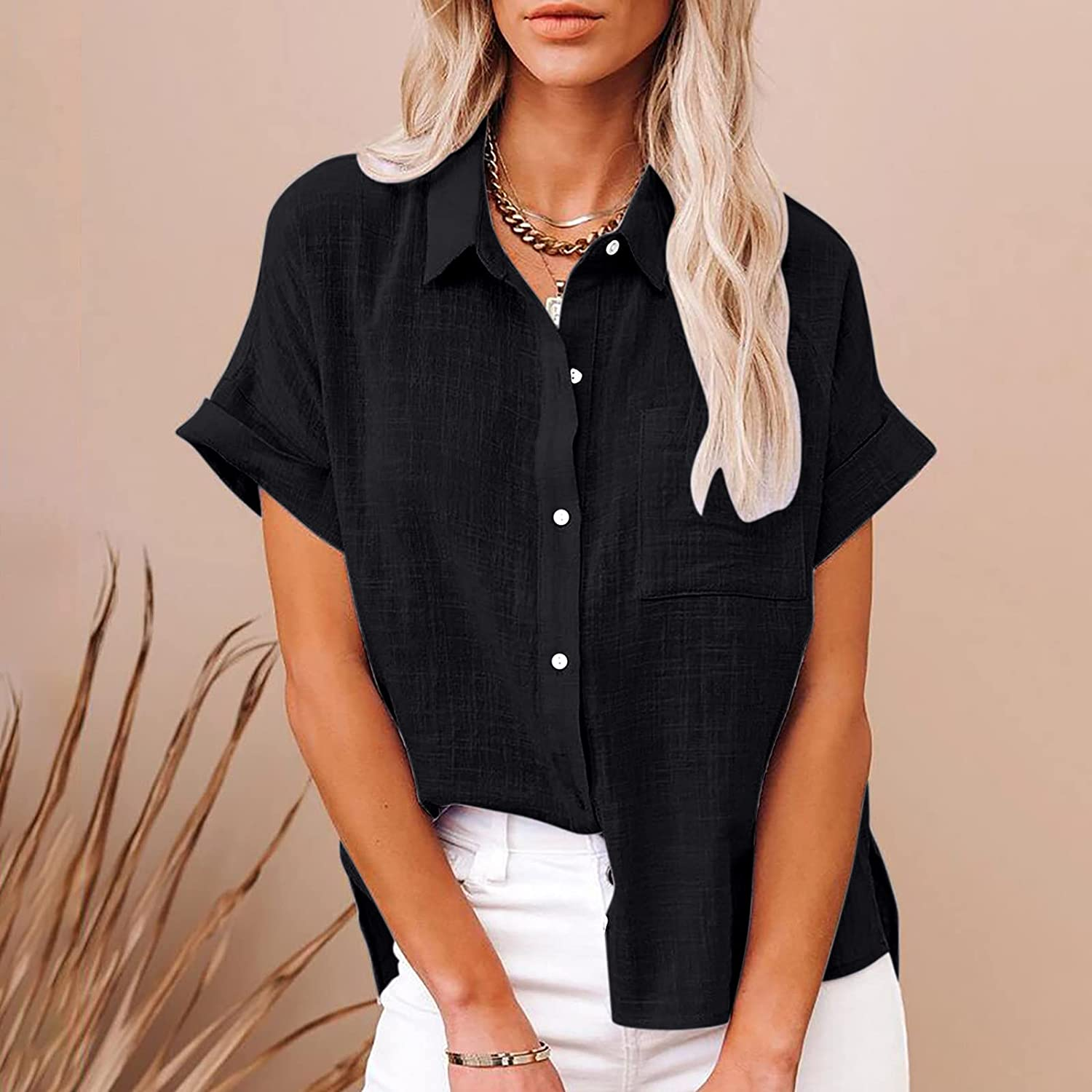 Women's Tops Fashion Solid Button Shirt Female V-Neck Loose T-Shirt Blouse Summer Tops Tee Shirts Blouse