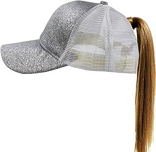 2d653fa63ba Muryobao Women s Ponytail Baseball Cap Messy High Bun Adjustable Plain  Trucker Dad Hat