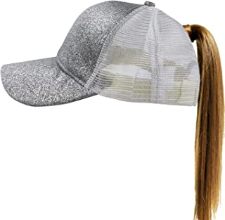 Muryobao Women's Ponytail Summer Sun Wide Brim Hat Adjustable Foldable Safari Fishing Cap