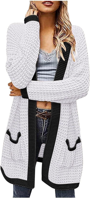 Hemlock Women Mid Long Sweater Coat Open Front Knit Cardigans Sweaters Pocket Outwear Fall Tops