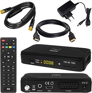 SATELLITEN ontvanger + 7,5 m SAT-kabel zwart + HDMI-kabel: DVB-S/S2 set hoogwaardige SAT-ontvanger (HDTV HDMI SCART USB 2....