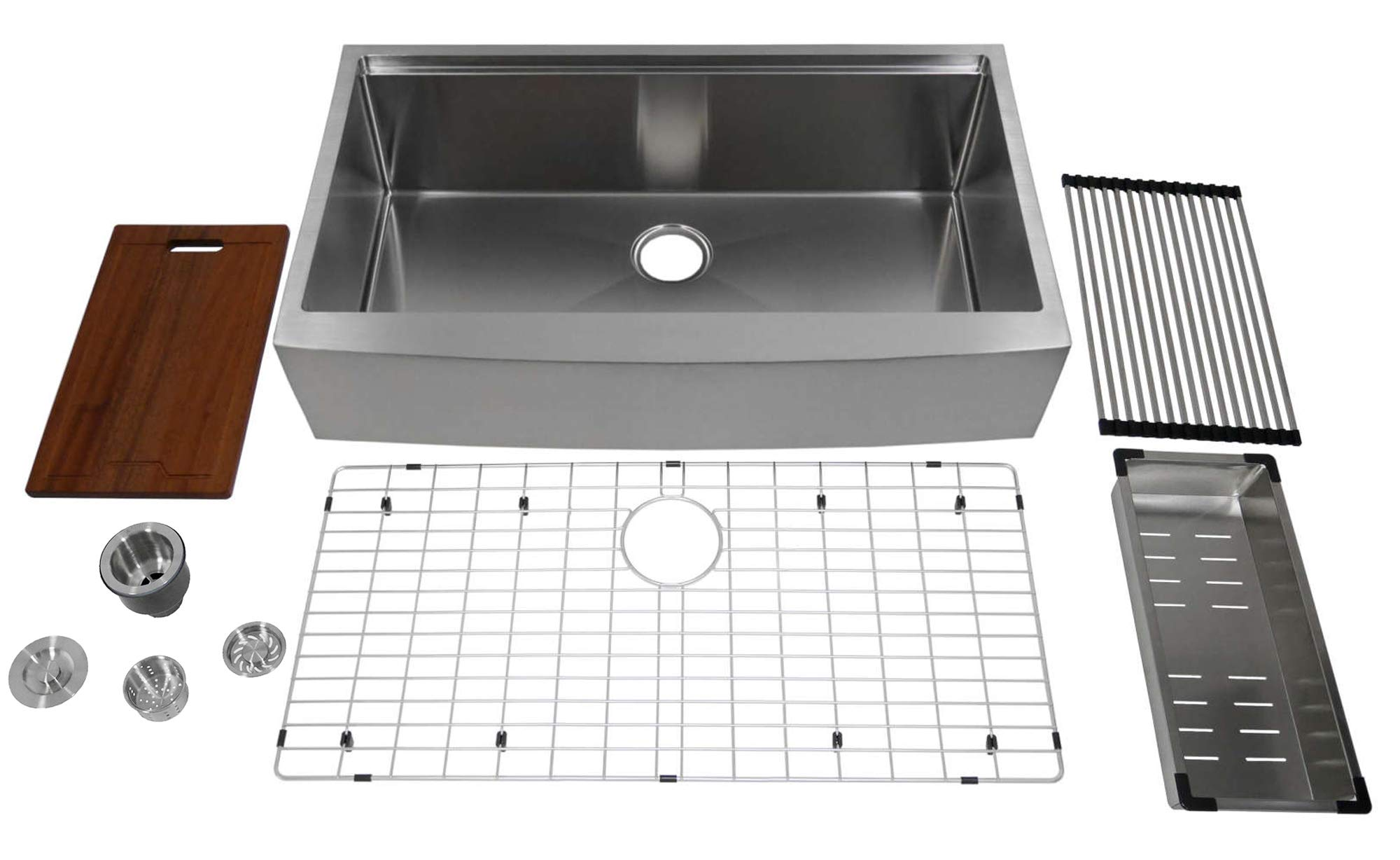 Auric 36 Retro Fit Curved Apron Front Workstation Farmhouse Kitchen Sink Stainless Steel Short Apron Single Bowl Scal 16 36 Retro Sgl Combo Amazon Com