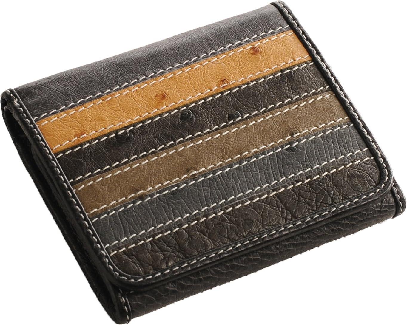 廃棄膜仮装二つ折り 財布 オーストリッチ ボックス型 小銭入れ レディース