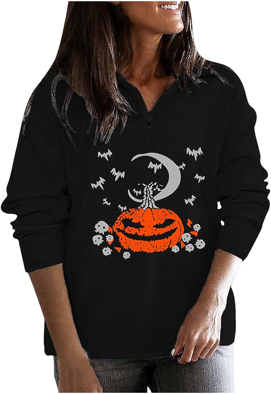 Long Sleeve Sweatshirt for Womens Halloween Hooded Tops Pumpkin Printed Graphic Tees Comfy Oversized Hoodies