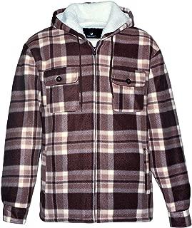 Heavy Thick Flannel Plaid Jacket Sherpa Fleece Lined Hoodies for Men Zip Up Winter Warm Buffalo Zipper Camo Sweatshirt