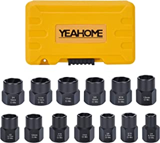 Bolt Extractor Nut Removal Tool - YEAHOME Black Oxide Impact Bolt & Lug Nut Remover Set 13 Pieces Extractor Socket Set Automotive Tools Fathers Day Gifts For Dad