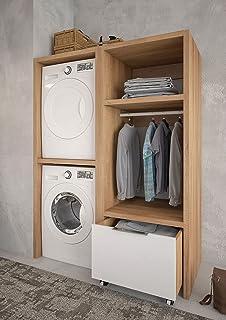 Dafne Italian Design Meuble lavanderia porte machine à laver chêne vieilli - laqué gris lumière mate, dimensions L 135 cm ...
