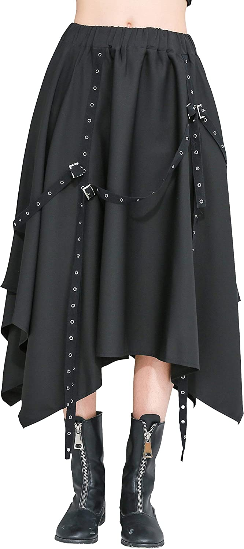 ellazhu Women Black Midi Length Casual Pleated Aline Wrap Skirts GY2279