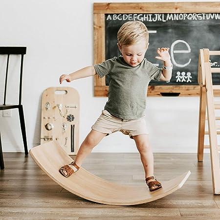 FUNNY SUPPLY Wooden Balance Board Wobble Board Preschool Learning Kid Yoga Board Curvy Board Rocker Board Montessori Toy 35 Inch Kid Size Wooden Patten