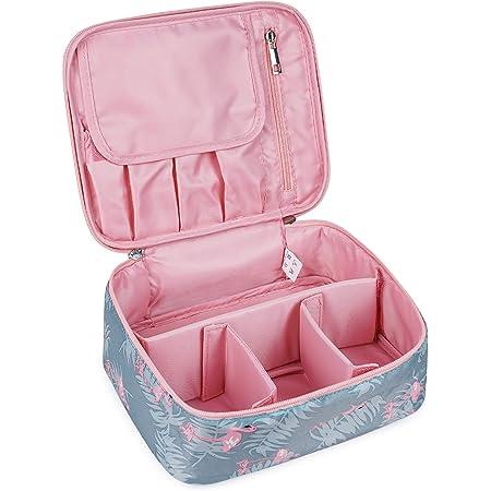 Reise Kosmetiktasche Große Make-up-Tasche Schminktasche Kosmetiktasch Organizer für Damen und Mädchen (Flamingo)