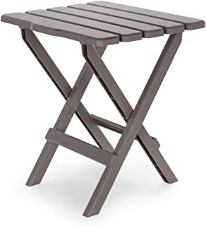 Camco 51887 Taupe Large Adirondack Portable Outdoor Folding Side Table, Perfect for The Beach, Camping, Picnics, Cookouts & More, Weatherproof & Rust Resistant