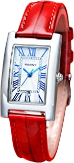 Watches for Women, Classic Square Quartz Ladies Watch, Rectangular Dial Leather Strap Watch
