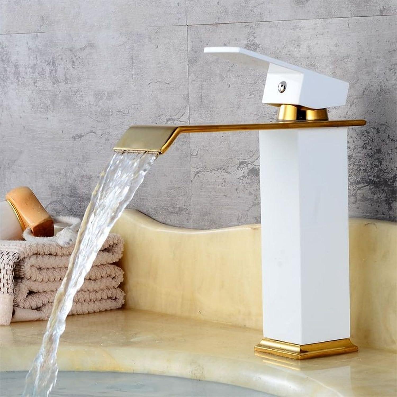 Rmckuva Bathroom Sink Taps Bathroom Faucet Modern Single Lever Faucet Brass Mixer Basin Faucet Surface Paint White