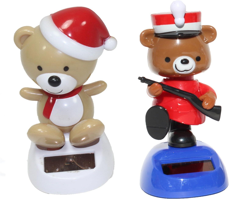 A Teddy in red hat plus a British policeman cop teddy bear Christmas Solar Toy