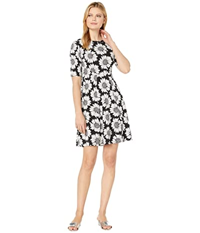 Karen Kane Daisy Print A-Line Dress (Black/White) Women