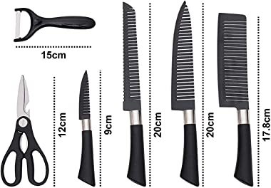 ASkyl Stainless Steel Knife Set With Chef Peeler And Scissor, 6 Pieces, Black