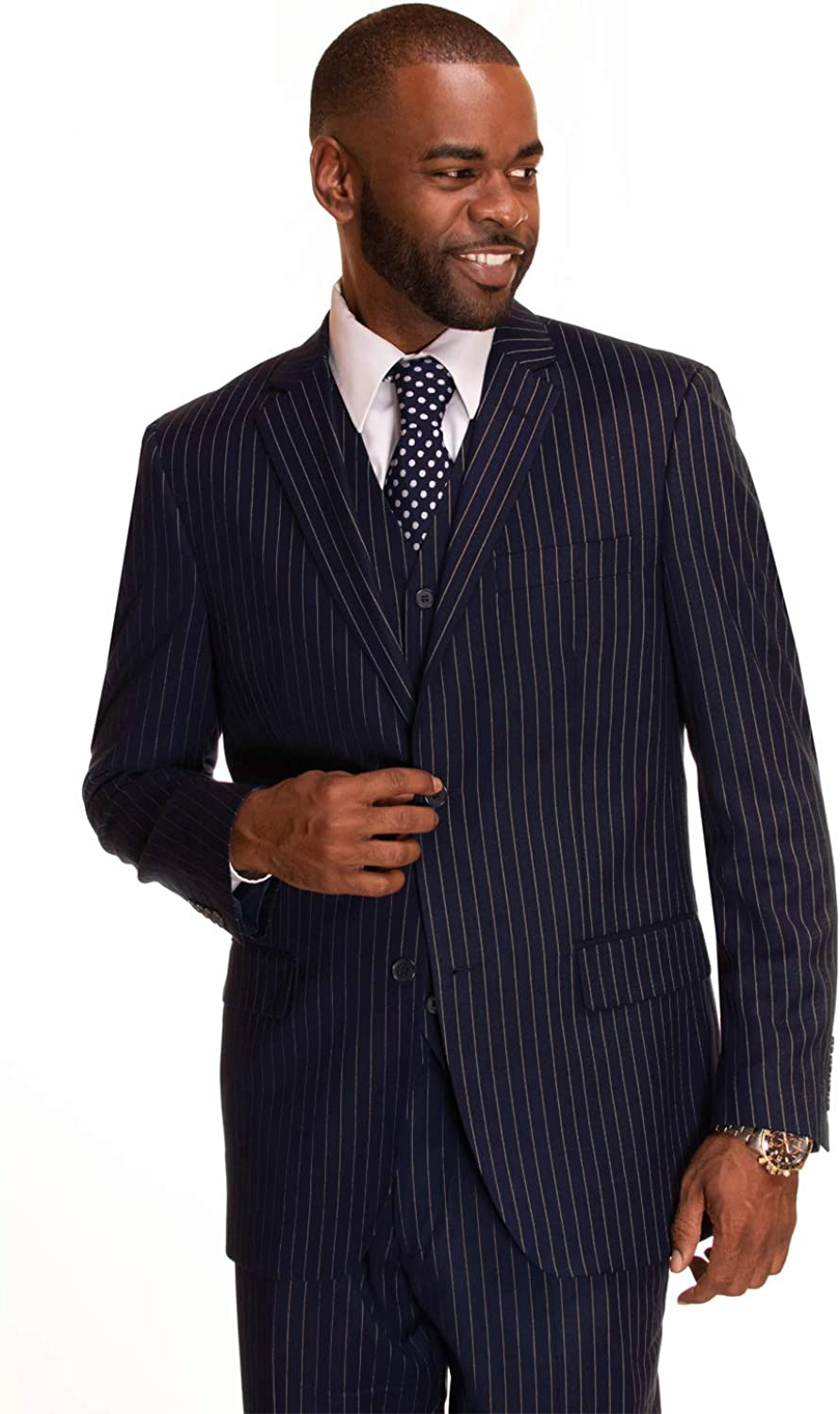 Mens Suit Classic Fit 3 Piece Suit for Men Plaid Windowpane Check Design Square Big and Tall
