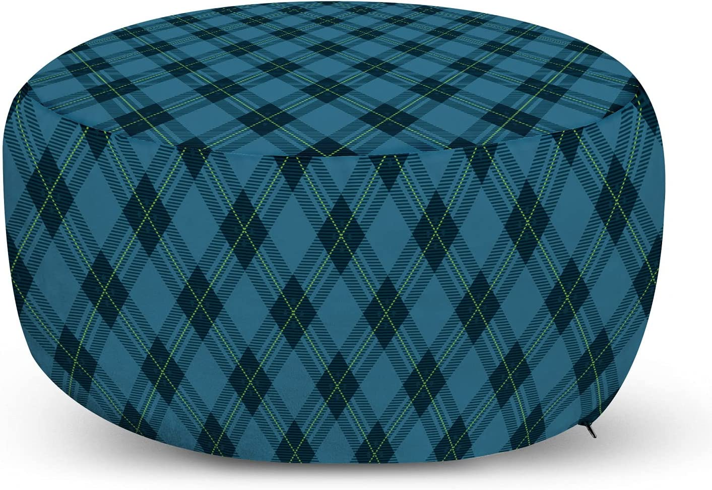 Lunarable Fees free New products, world's highest quality popular! Checkered Blue Ottoman Geometric Continous Patte Pouf