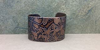 Butterfly Cuff Bracelet Etched Copper