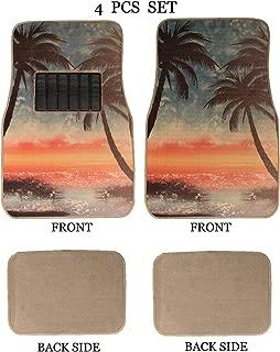 ALLBrand Universal Fit Front/Rear 4-Piece Full Set Sublimation Print Custom Design Carpet Car SUV Truck Floor Mats (Sunset Beach/Beige)