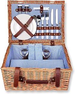 Schramm® Cesta de picnic 40x30x20cm rectangular de madera