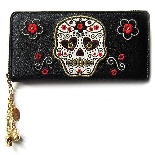 8d4220636 Banned Womens Faux Leather Black Rockabilly Psychobilly Sugar Skull Wallet  Purse