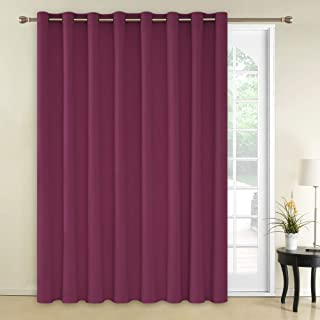 Deconovo Blackout Blind Curtain Thermal Insulated Wide Panel Curtains for Living Room 100 x 84 Inch Fuschia 1 Panel