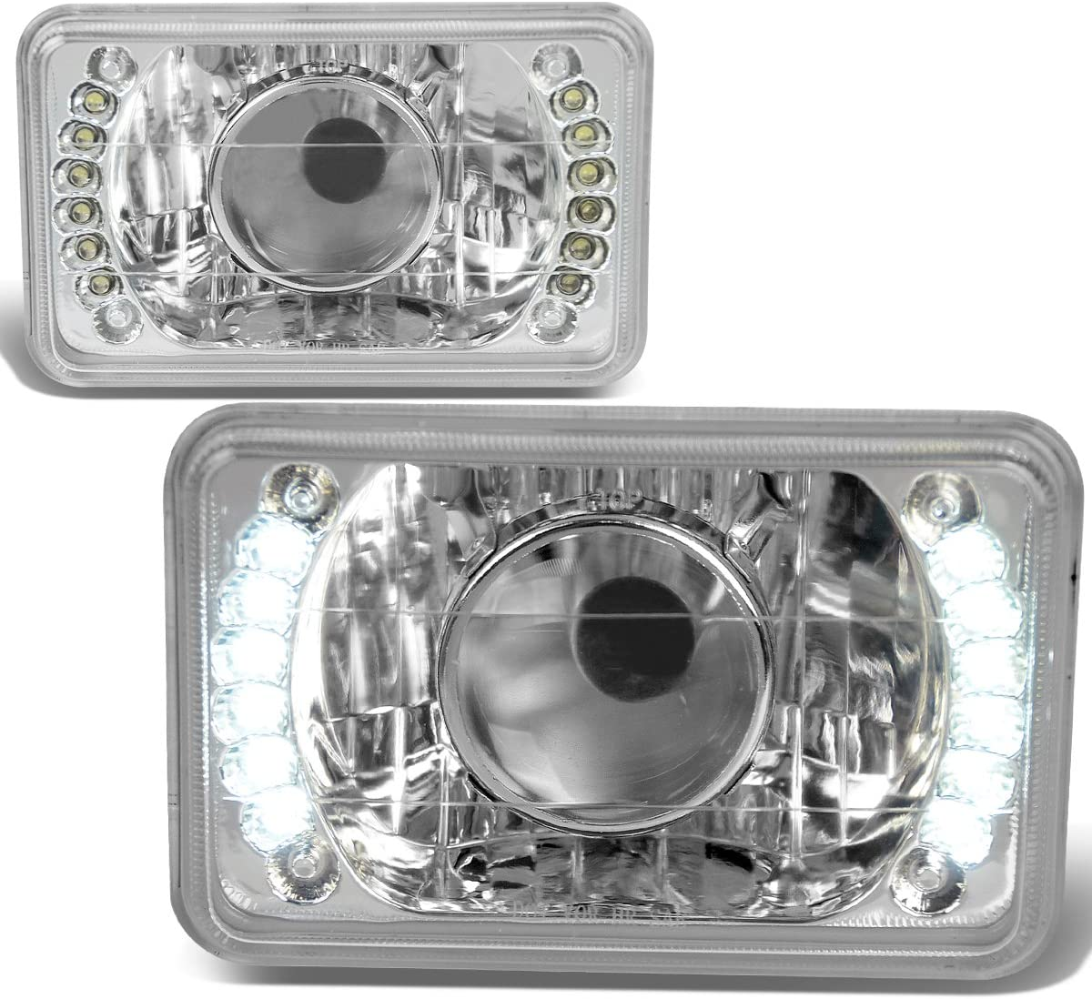 2Pcs 4X6 Inch Glass Lens Bult-In 新色追加して再販 Chrome Housing He LED 売店 Projector