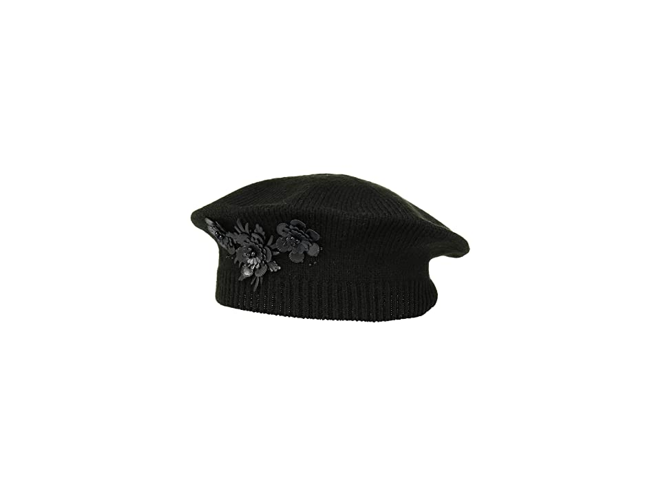 1920s Accessories: Feather Boa, Cigarette Holder, Flask LAUREN Ralph Lauren Floral Embellished Beret Black Berets $48.00 AT vintagedancer.com