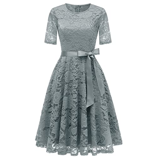 dafa33f37703 DRESSTELLS Short Bridesmaid Scoop Floral Lace Dress Cocktail Formal Party  Dress