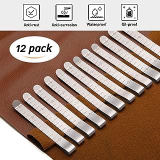 KINGSO 12 Pcs 3'' Stainless Steel Sewing Clips Ruler Hemming Clips Measure Clip Hemmer Hem Clip Marking Ruler Guides Silver