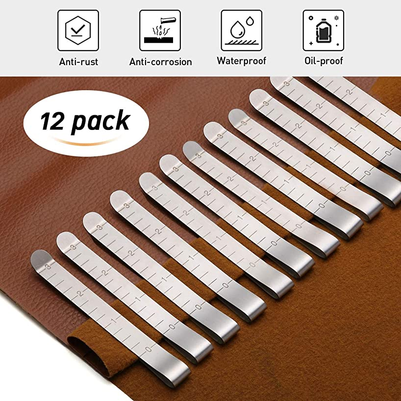 KINGSO 12 Pcs 3'' Stainless Steel Sewing Clips Ruler Hemming Clips Measure Clip Hemmer No Pin Hem Clip Marking Ruler Guides Silver