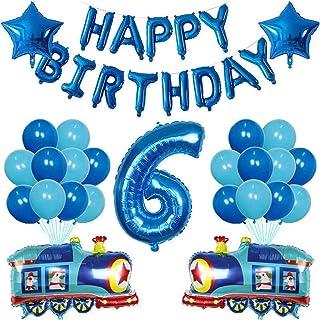 風船 38ピース鉄道バルーン消防車アンフェランススクールバス交通機関エンジニアリング車の焼肉誕生日パーティーの装飾 (Color : Blue-6)