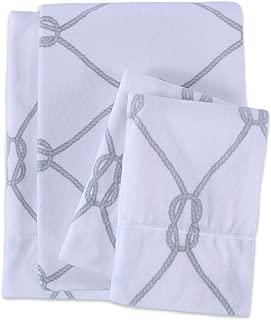 Berkshire Blanket Sailor's Rope Printed Microfleece Set Fleece Sheets, Queen, Grey