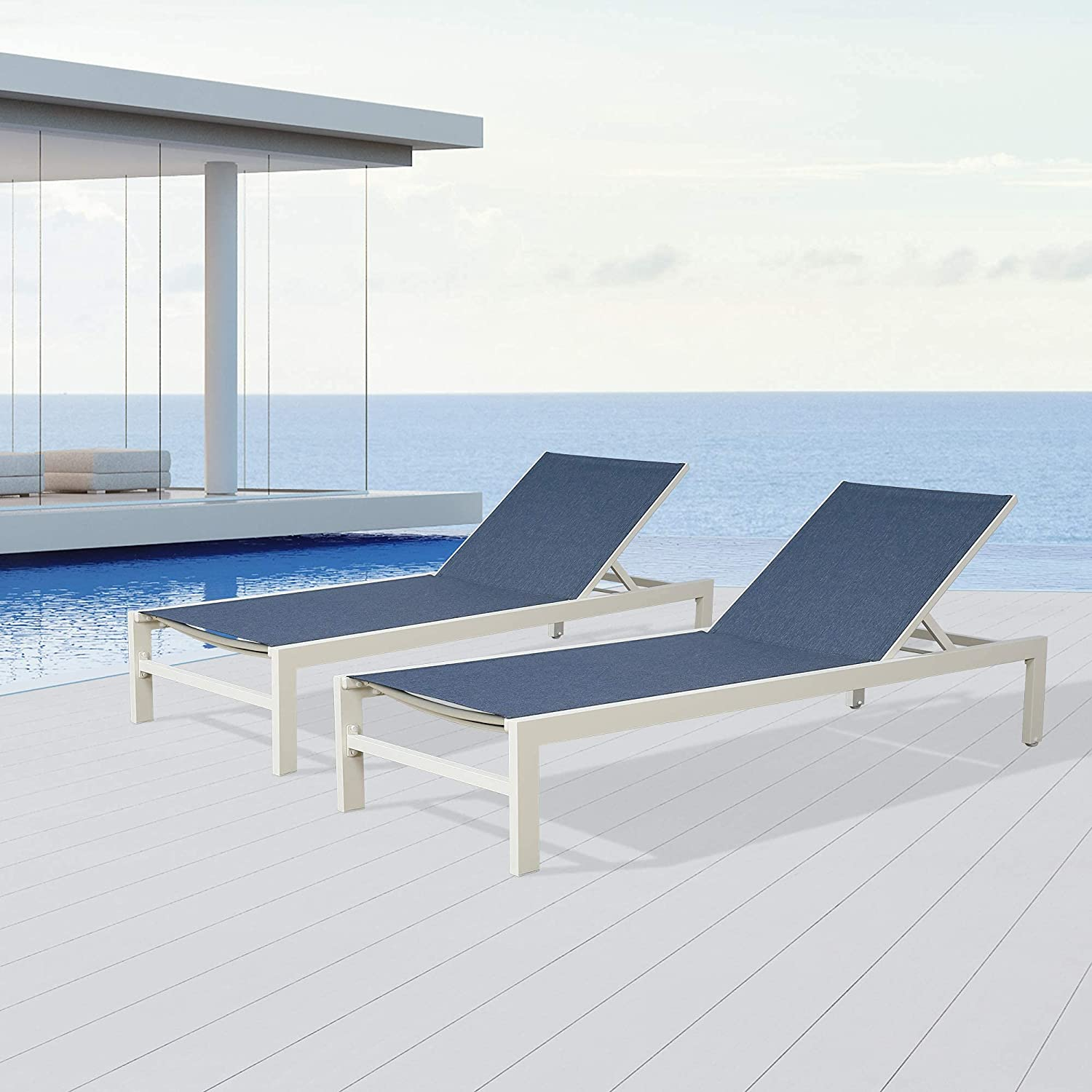 PATIO Direct store TREE 2 cheap Pieces Patio Aluminum Lounges Reclin Chaise Outdoor