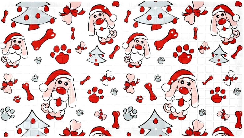 Bath Tub New Orleans Mall Shower Mat OFFicial mail order 15.7x27.9 inches Tree Claus Dog Santa Print