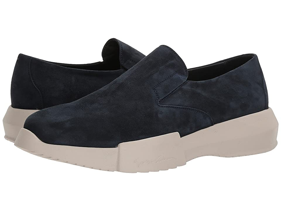 Giorgio Armani Suede Slip-On Sneaker (Blue) Mens Shoes