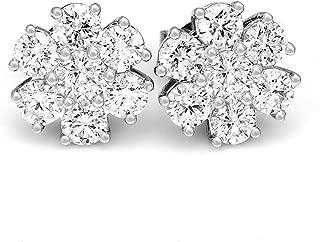 Lab Grown Diamond Earrings 2 3/8 carat Diamond Stud Earrings Luxury 7 Stone Earrings Lab Created Diamond Earrings for Women 14K White Gold SI-GH Quality 14k Diamond Earrings Diamond Jewelry Gift