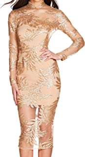 UONBOX Women's Long Sleeves Deep V Plunge Neck Sequin Bandage Club Party Dress