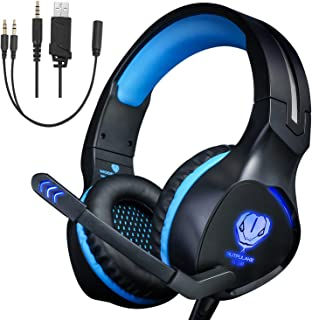 Xbox One Headset,Gaming Headset for PS4 PC Mobile Phone,3.5 mm Gaming Headset LED Light Over-Ear Headphones with Volume Control Microphone for Xbox PS4 Laptop Tablet USB Lighting WSQiWNi (Blue)