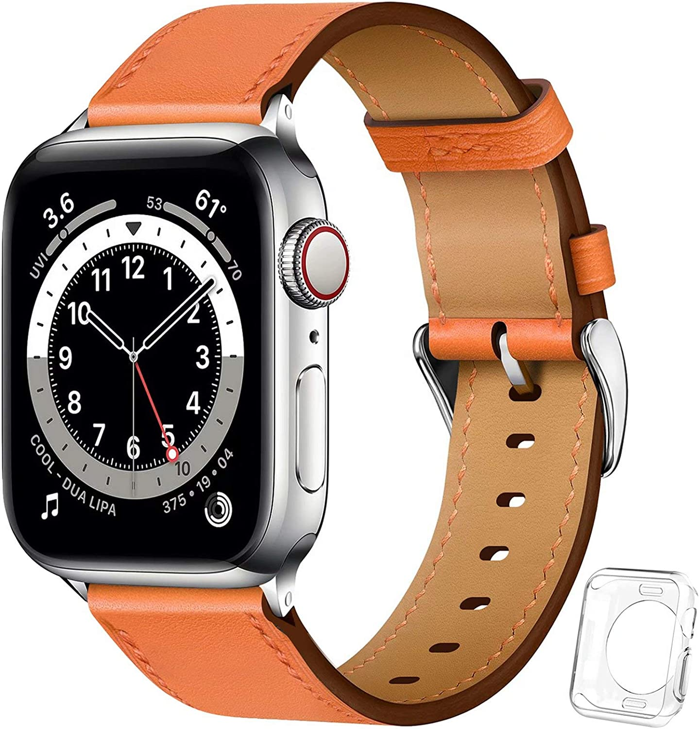 ADWLOF Bands Compatible for Apple Watch Band 38/40/42/44mm with Screen Protector Case,Genuine Grain Leather Replacement Strap with Protective Case for iWatch 6/5/4/3/2/1/SE