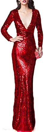 8f708f5dca73 LMBRIDAL Women's V Neck Sequin Mermaid Formal Evening Dress Long Sleeve  Prom Gown Prom Gown EVD04