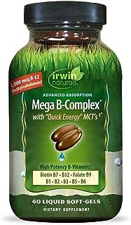 Irwin Naturals Mega-B Complex - 1,000 mcg B-12 - High Potency B-Vitamins with Quick Energy MCTs - 60 Liquid Softgels
