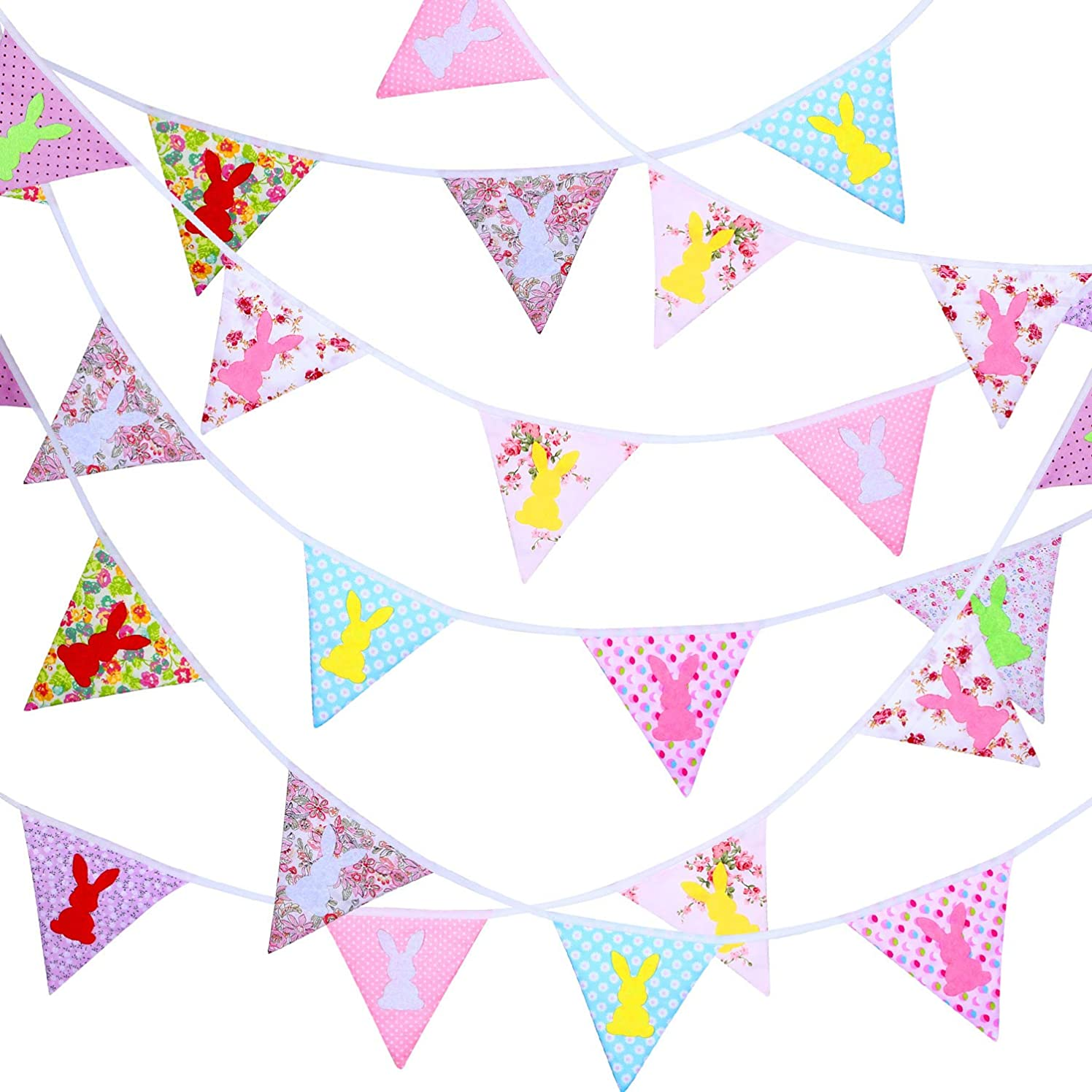 33 Feet Fabric Banner Bunting 30 Double-sided Triangle Pennant Flags in 10 Different Style Patterns for Holiday Winter Birthday Party Photo Prop (Easter) (Easter)