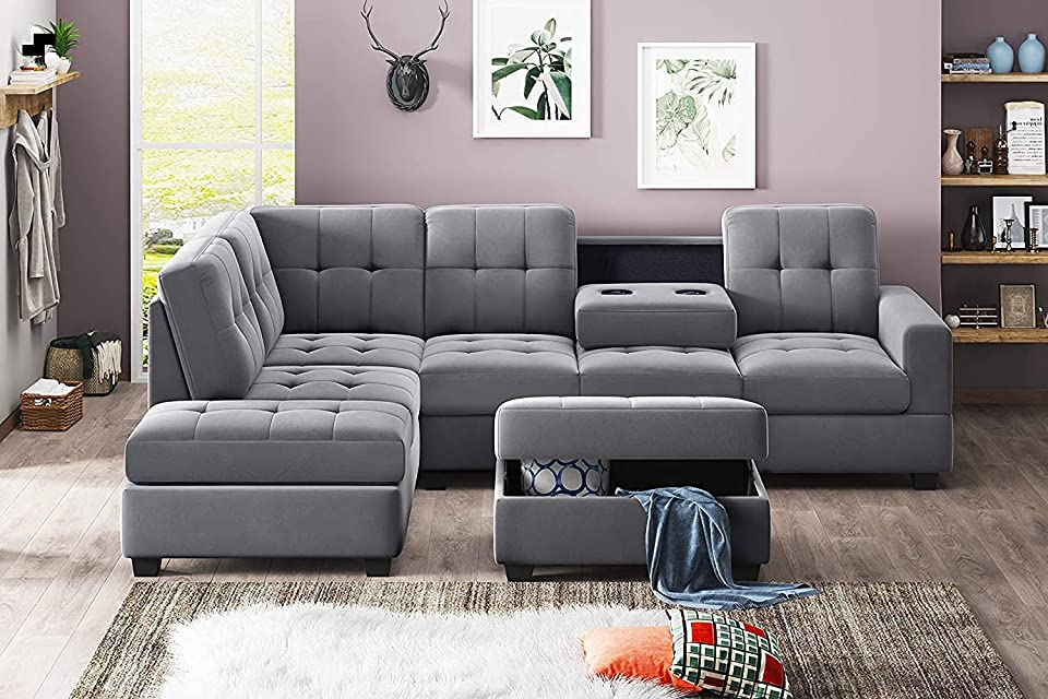 3 Piece Microfiber Sectional Sofa L-Shape with Reversible Chaise Lounge Storage Ottoman and Cup Holders, Grey