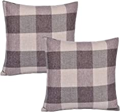 SEEKSEE Burlap Farmhouse Decor Buffalo Checkers Plaid Cotton Linen Decorative Throw Pillow Cover Rustic Cushion Cover Pillowcase for Sofa 18 x 18 Inch, Set of 2 (Brown, 18